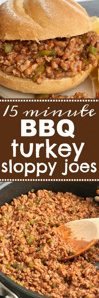 BBQ Turkey Sloppy Joes | Dinner | Sloppy Joe Recipe | BBQ turkey sloppy joes can be on the dinner table in just 15 minutes! Ground turkey simmers with tomato sauce, BBQ sauce and spices. Serve over hamburger buns for an easy and delicious dinner that is family approved and loved by kids. #easydinnerrecipe #groundturkey #dinner