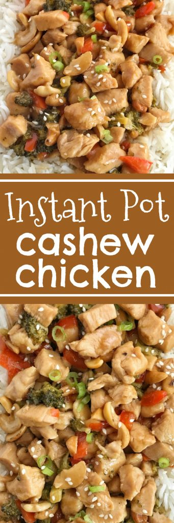 Instant Pot Cashew Chicken   Instant Pot Recipe   Chicken   Cashew Chicken   If you're looking for the best instant pot chicken recipe then this Instant Pot cashew chicken is it! Chunks of chicken breast, broccoli, red pepper, and cashews smothered in a delicious homemade sauce and cooks up quick in the instant pot. Dinner is ready in about 30 minutes. #instantpot #easydinnerrecipes #chicken