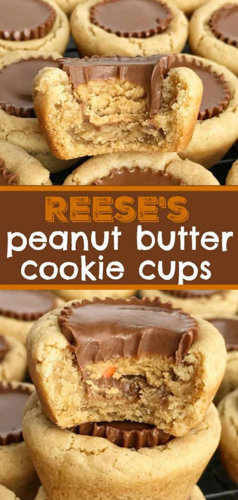 Reese's Peanut Butter Cookie Cups | Peanut Butter Cookies | Reese's | Peanut butter cookie cups filled with a Reese's chocolate peanut butter candy. #dessert #dessertrecipes #easydessertrecipe #recipe #peanutbutter #reeses