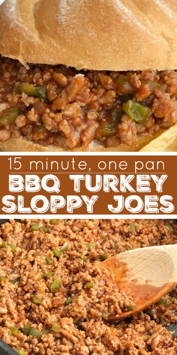 15 Minute BBQ Turkey Sloppy Joes | Sloppy Joe Recipe | Easy Dinner | BBQ Turkey Sloppy Joes can be on the dinner table in just 15 minutes! Ground turkey simmers with tomato sauce, BBQ sauce and spices. Serve over hamburger buns for an easy and delicious dinner that is family approved and loved by kids. #dinnerrecipes #groundturkey #sloppyjoes #dinner #recipeoftheday