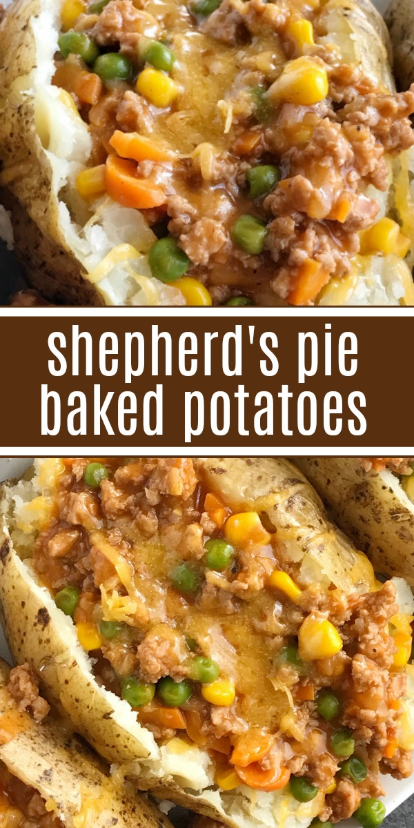 Shepherd's Pie Baked Potatoes   Dinner Recipe   Everything you love about the classic shepherd's pie in baked potato form. A delicious shepherd's pie filling of ground turkey, seasonings, beef broth, and veggies gets loaded on top of a soft potato and topped with shredded cheese. #dinner #dinnerrecipe #potatorecipes #shepherdspie