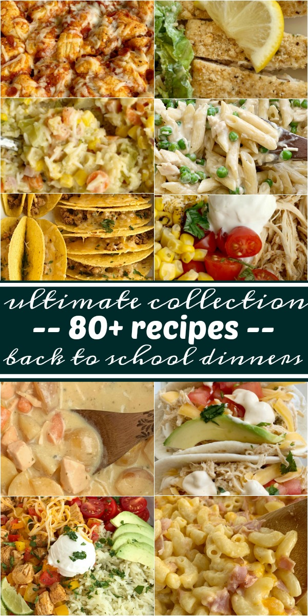 The Best Collection of Back-to-School Dinner Recipes | Dinner Recipes | Easy Dinner Ideas | The Best Back-to-School Dinners for your busy weeknights. 30 minute dinner recipes, slow cooker recipes, kid-friendly casseroles, soup & chili recipes, and Instant Pot recipes. All these are family testes and approved. The best collection for quick and simple recipes, and dump & go recipes for weeknight dinners. #dinnerrecipes #backtoschoolrecipes #backtoschool #dinner #slowcookerrecipes #easyrecipes