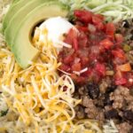 Beef Taco Burrito Bowls | Mexican Food | Dinner Recipe | Burrito Bowls | Beef taco burrito bowls are so easy to make at home! Seasoned beef taco meat with black beans, layered with rice, and all the taco toppings you want. Everyone can make their own for a fun, quick & easy, and delicious dinner. #dinnerrecipes #recipeoftheday #mexicanfood #burritobowls #groundbeef