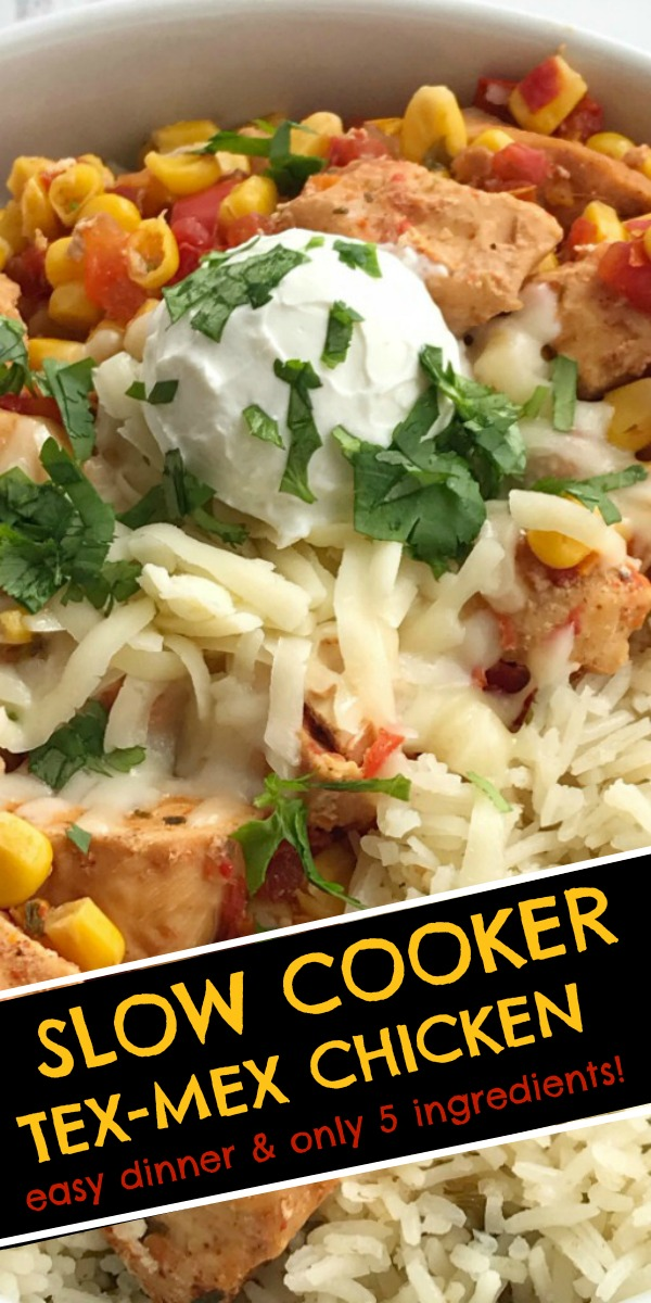 Slow Cooker Tex-Mex Chicken   Easy Crock Pot Recipe   Slow Cooker Recipes   Tex-Mex Chicken is made in the slow cooker with only 5 ingredients plus some seasonings. Set it and forget it dinner that is ready when you are and it's healthy & nutritious! #dinnerrecipes #chickenrecipe #slowcooker #easycrockpotrecipes #easyslowcookerrecipes #recipeoftheday