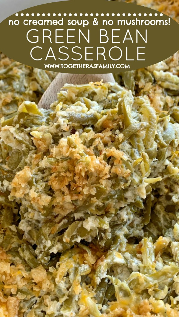 Green Bean Casserole Recipe | Green Bean Casserole without mushrooms & without canned soup | Green bean casserole recipe. Canned green beans, cheese, french fried onions, and a few seasonings is all you need for the best green bean casserole. This green bean casserole has no mushrooms and no creamed soups in it! #thanksgivingrecipe #greenbeancasserole #casserole #thanksgiving #recipeoftheday #greenbeancasserolerecipe