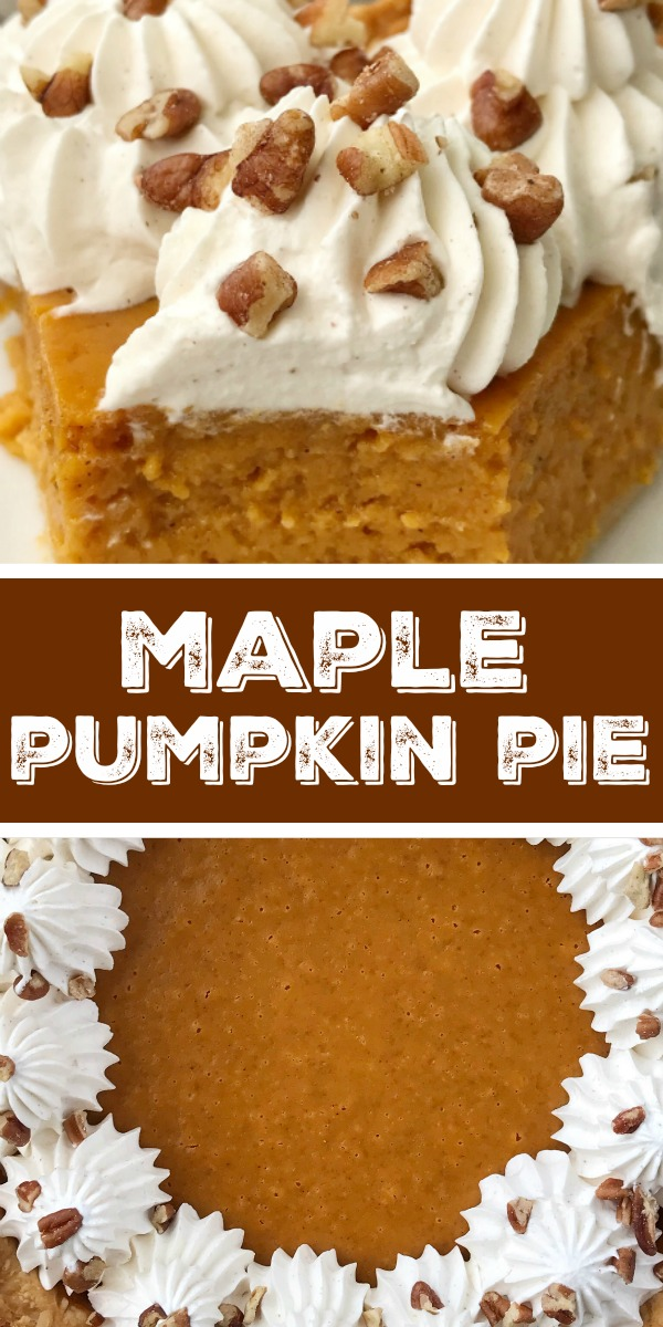 Maple Pumpkin Pie   Pumpkin Pie Recipe   Thanksgiving Recipe   If you love pumpkin pie then you'll want to make this maple pumpkin pie that's sweetened with pure maple syrup. Top off a slice with the pumpkin spiced homemade whipped cream. It's a fun twist to the classic pumpkin pie. #thanksgiving #thanksgivingrecipe #recipeoftheday #pie #pumpkinpie #dessertrecipe
