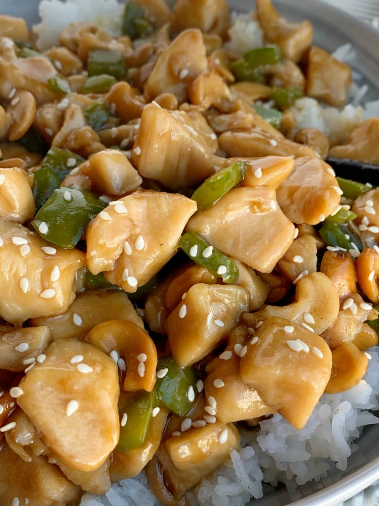 Chinese Cashew Chicken | Chinese Food | Chicken Recipe | Dinner Recipes | Chinese Cashew Chicken cooks in one pot on the stove top and can be on the table in just 30 minutes! Chunks of chicken and green pepper simmer in a easy homemade Chinese sauce. Serve over rice for a family approved dinner. #chickenrecipe #chicken #dinner #dinnerideas #recipeoftheday