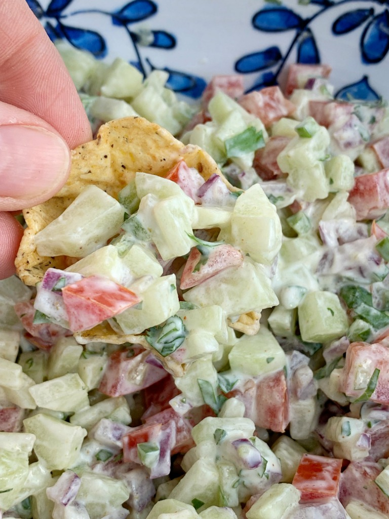 Cucumber Salsa   Healthy Recipe   Salsa Recipes   Cucumber salsa is full of fresh cucumber, tomatoes, cilantro, red onion, jalapeño, and a light & creamy seasoned dressing. Serve with chips, as a side dish, or on top of grilled meat for a deliciously light summertime recipe. #appetizerrecipes #salsas #dips #recipeoftheday #healthyrecipes #summerrecipes