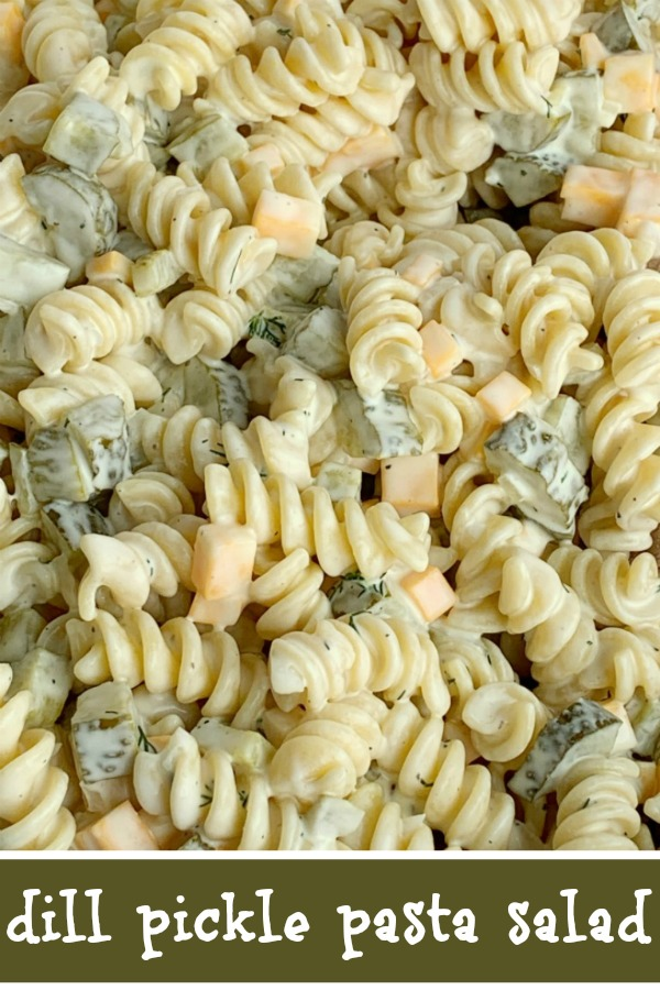 Dill Pickle Pasta Salad   Dill Pickle Recipe   Pasta Salad   Dill Pickle Pasta Salad will be an instant favorite! Tender spiral pasta, 2 cups of diced pickles, cheese, and onion covered in a ultra creamy homemade dill dressing with pickle juice. #pastasaladrecipes #sidedish #pastasalad #dillpickle #recipeoftheday