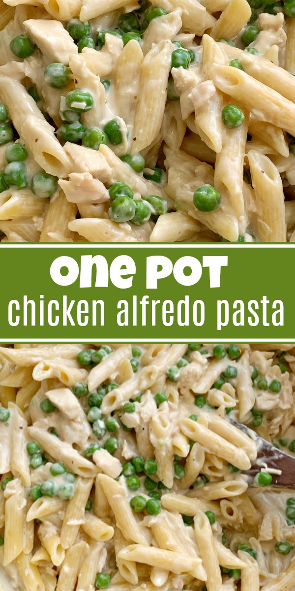 One Pot Chicken Lafredo Pasta | An easy 30 minute dinner recipe that is kid approved! Penne pasta, green peas, alfredo sauce, and parmesan cheese.