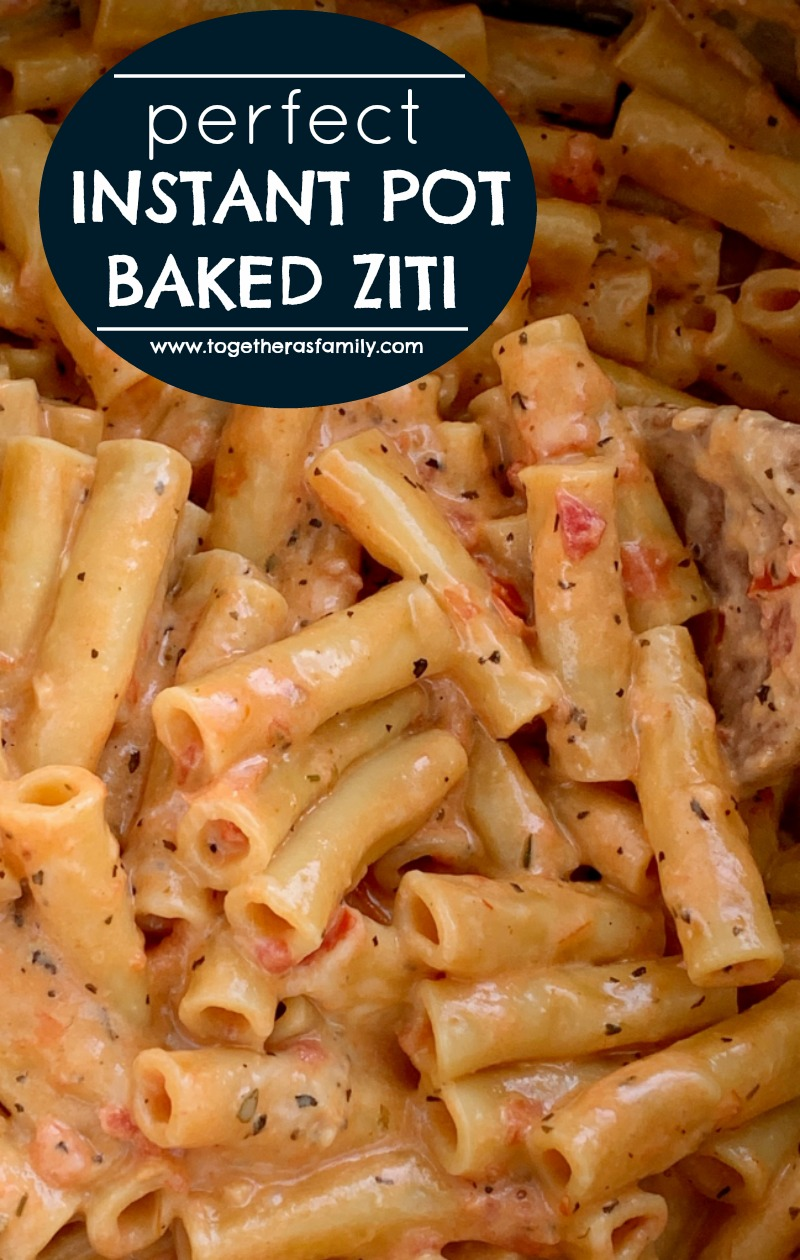 """Perfect Instant Pot Baked Ziti   Instant Pot Recipe   Pressure Cooker   Baked Ziti   Baked Ziti is a family favorite dinner that's made even easier when you """"bake"""" it in an Instant Pot! 15 minutes start to finish and only a few simple ingredients. Your family will love this perfect cheesy baked ziti recipe. #instantpotrecipes #pressurecooker #easyrecipe #dinnerideas #pasta #dinner"""