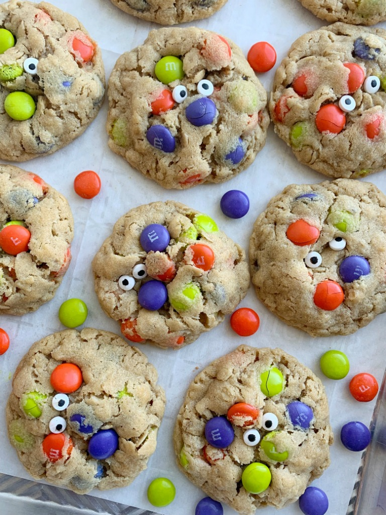 Halloween Recipe   Monster Cookies   Halloween Monster Cookies are chewy, soft-baked, and loaded with peanut butter, oats, Halloween m&m candies, and spooky candy eyeballs. These Halloween cookies are a fun and delicious way to celebrate Halloween!