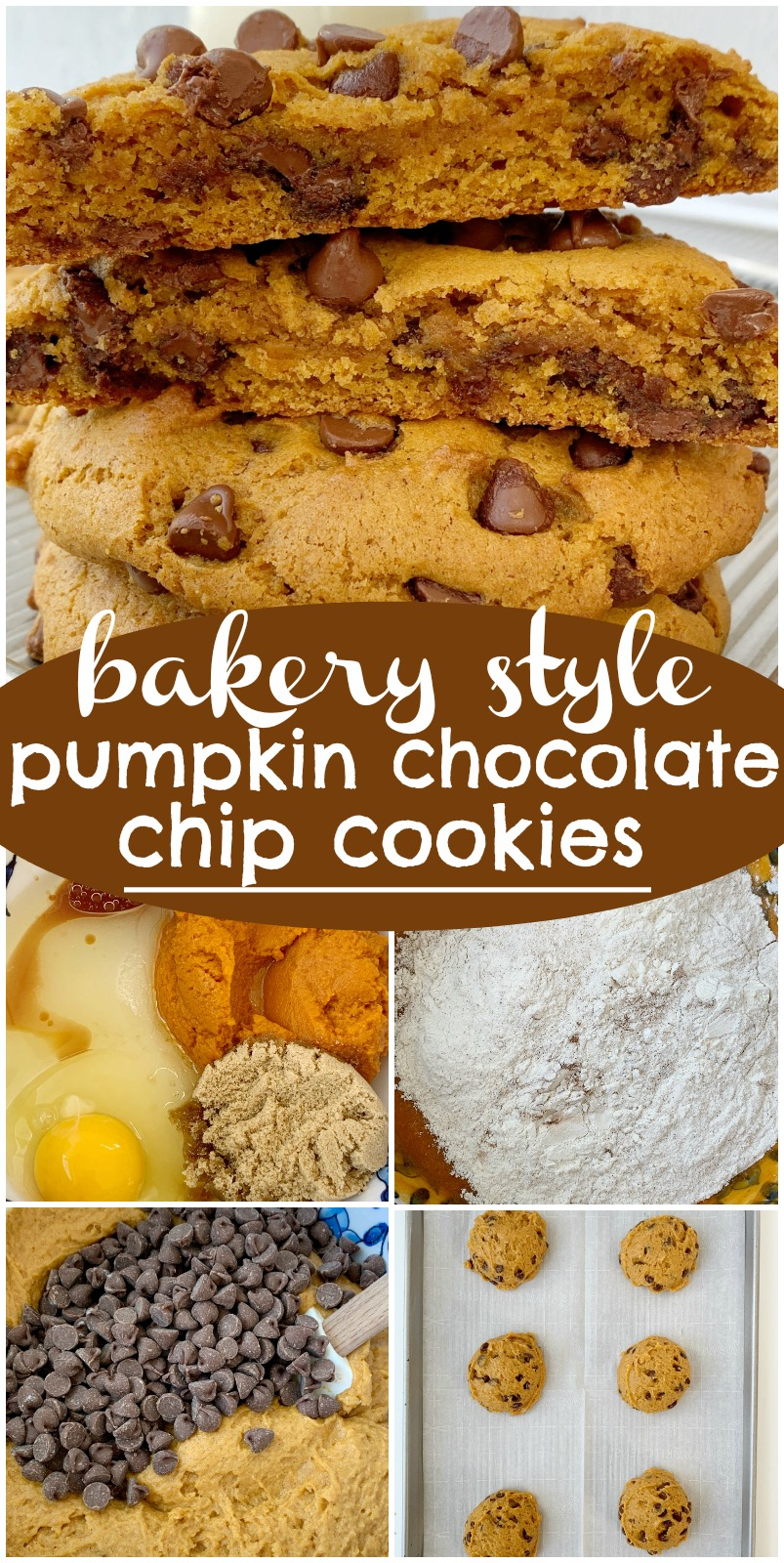 Bakery Style Pumpkin Chocolate Chip Cookies | Soft, cakey Pumpkin Chocolate Chip Cookies | Pumpkin Chocolate Chip Cookies just like you find at a bakery! Big cookies that are soft-baked, loaded with milk chocolate chips, and all the warm pumpkin spices. #pumpkincookies #pumpkinrecipes #pumpkinchocolatechipcookies #recipeoftheday #fallbaking #pumpkin