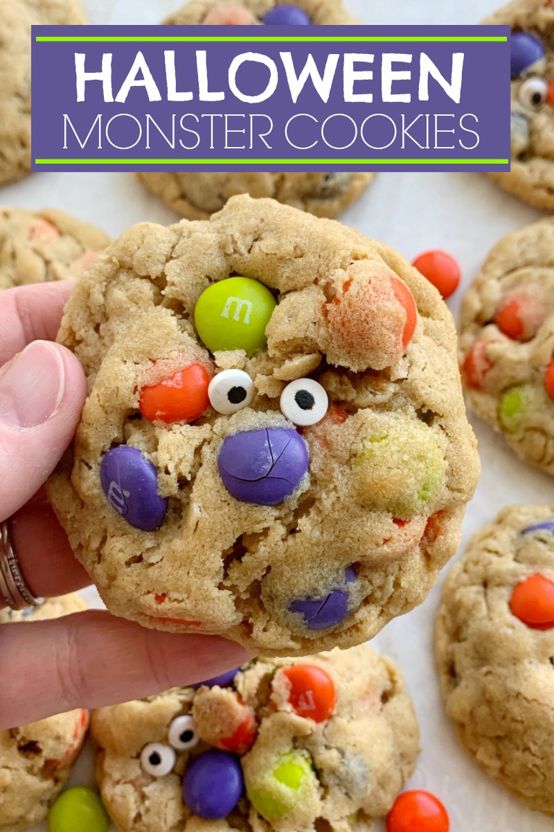 Halloween Monster Cookies   Halloween Recipe   Halloween Recipe   Monster Cookies   Halloween Monster Cookies are chewy, soft-baked, and loaded with peanut butter, oats, Halloween m&m candies, and spooky candy eyeballs. These Halloween cookies are a fun and delicious way to celebrate Halloween! #halloweenrecipes #cookies #monstercookies
