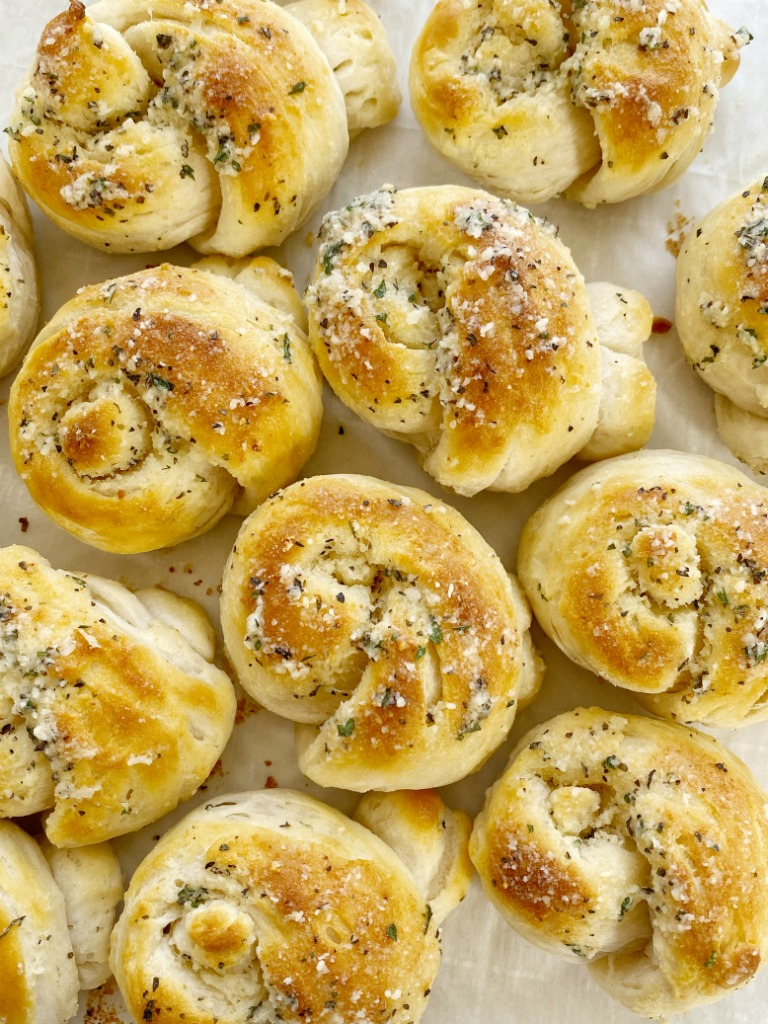 Easy Parmesan Garlic Knots Together As Family