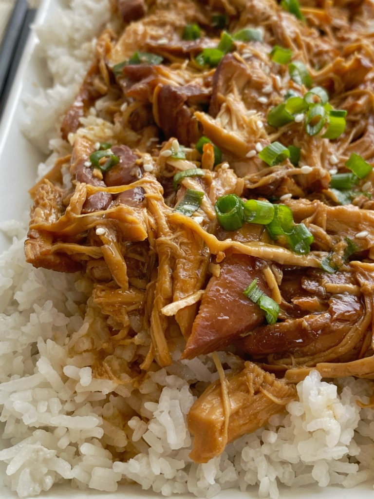 Hawaiian Teriyaki Chicken is made in the slow cooker with only 5 ingredients + chicken! A homemade sweet Hawaiian teriyaki sauce cooks with chicken. Sere over coconut rice for the best dinner!
