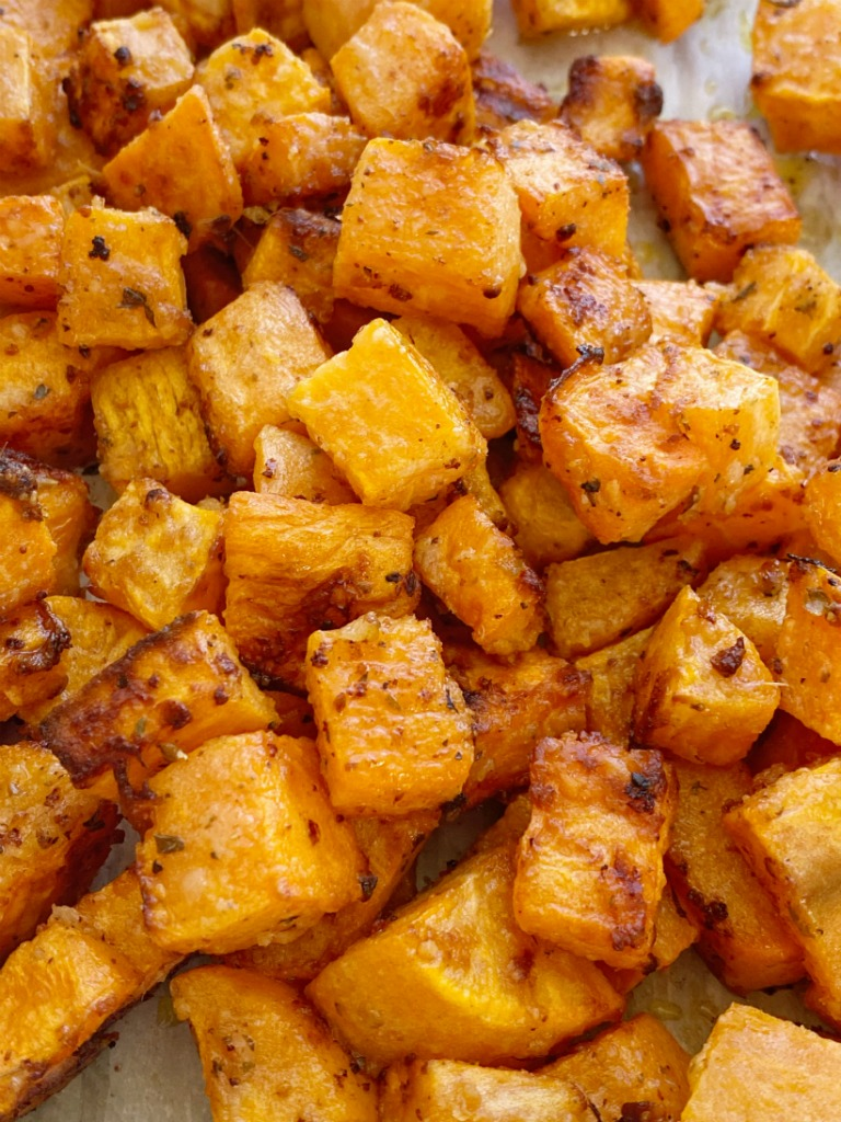 Garlic Parmesan Roasted Sweet Potatoes Together As Family